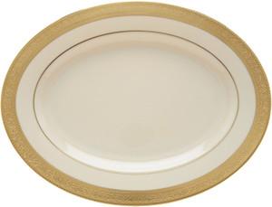 """Lenox Westchester Gold 16"""" Oval Serving Platter"""