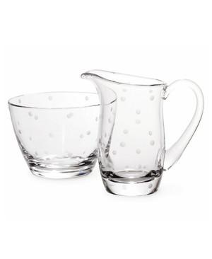 Lenox Kate Spade Larabee Dot Crystal Glass Sugar Bowl & Creamer Set