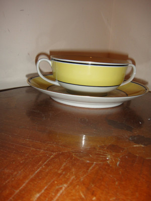 """A. Raynaud et Cie Limoges France Ceralene """"Directorie"""" Soup Cream Cup And Saucer"""