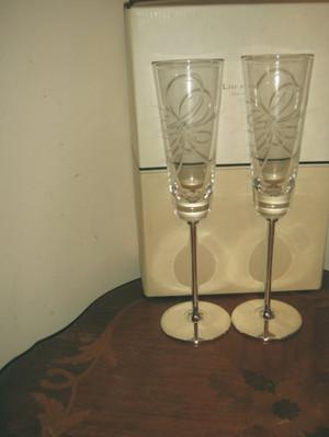 Kate Spade Belle Boulevard Silverplate Champagne Flute Pair