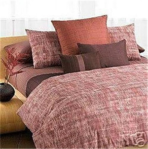 Calvin Klein Laharia Henna Red Sandalwood King Duvet Comforter Cover Set