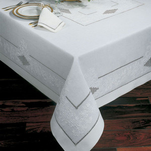 Sferra French knot 70x 162 Rectangular White Tablecloth  w8 Napkins 100% Linen