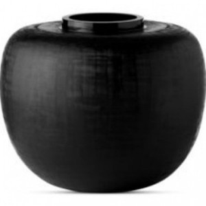 Donna Karan Lenox Artisan Glass, Black, Etched Linear Grand Globe Vase