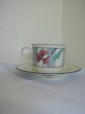Lenox Poppies on Blue Teacup and Saucer