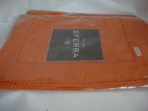 """Festival 902 Pure Linen Placemats Tangerine by Sferra 14' x 20"""" Set  Of 4 New"""