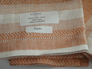 Ascot Set of Four Hemstitched Dinner Napkins by Sferra Paprika New