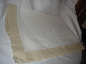 Sferra Filetto White stone Color Block Linen Table Runner New 15 X 90