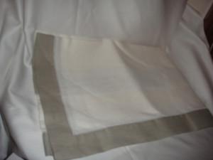 Sferra Filetto White Putty Color Block Linen Table Runner New 15 X 90