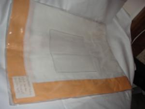 Sferra Filetto White Apricot  Color Block Linen Table Runner New 15 X 90