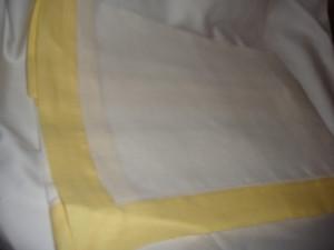 Sferra Filetto White Canary Color Block Linen Table Runner New 15 X 90