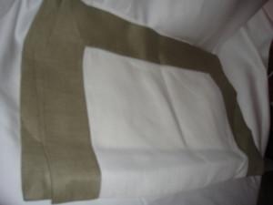 Sferra Filetto White Olive Color Block Linen Table Runner New 15 X 90