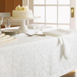 Sferra 1212 Orchard White Tablecloth 70 x 162 W/ 12 Dinner Napkins