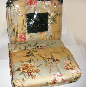 Ralph Lauren Highfields Pastel Large Floral Queen Duvet Cover Set 13P New