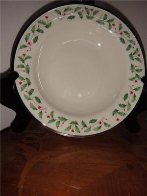 Lenox Holiday Ivory Platinum Soup Bowl Christmas Bone China (2)