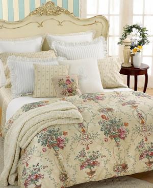 Ralph Lauren Villandry Cream w/ Blue & beige Floral 12p Queen Comforter Set New