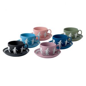 Wedgwood Jasperware Dancing Hours Teacup & Saucer, Set Of 6