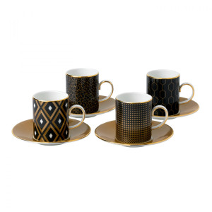 Wedgwood Arris Accent Espresso Cup & Saucer, Set Of 4