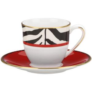 "Lenox Scalamandre Zebras Demitasse Cup & Saucer 5"" d, 3 oz"