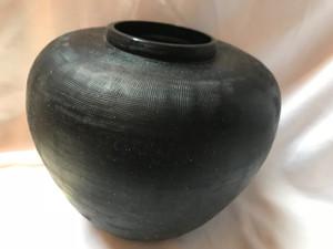 "Donna Karan Lenox Artisan Glass, Black, Etched Linear  Round  Vase  8"""