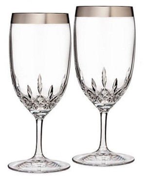 Waterford Lismore Essence Wide Platinum Band Iced Beverage Glass, Set