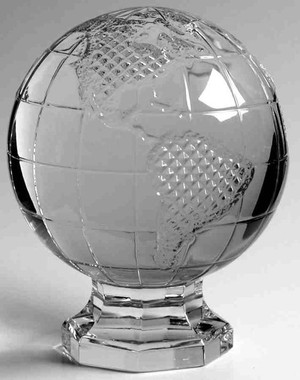 """Waterford World Globe Crystal Paperweight 5.5"""" New"""