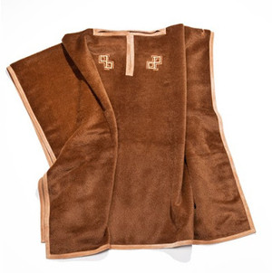 Pratesi  Cashmere Double P Poncho Cacao Leather Suede New