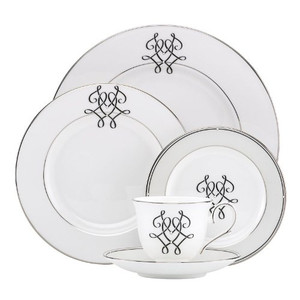 Lenox Scripted Platinum One  5 Pc Place Setting