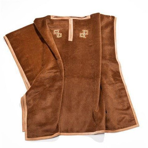 Pratesi Italy Cashmere Double P Poncho Cacao Leather Suede Border  New