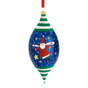 MD Anderson Center Santa Angel by Victor Finial Ornament, Blown Glass
