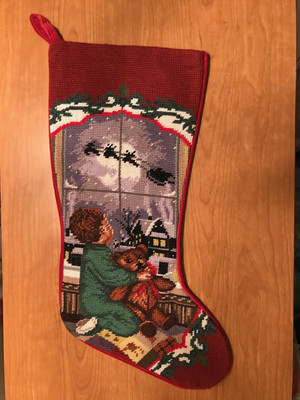 Sferra Handmade Baby Boy With Teddy Needlepoint Christmas Stocking TT3