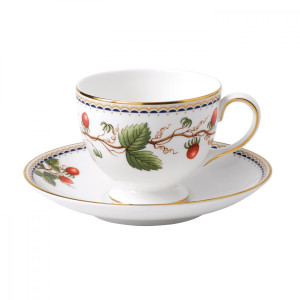 Wedgwood Wild Strawberry Archive Leigh Teacup & Saucer - Discontinued