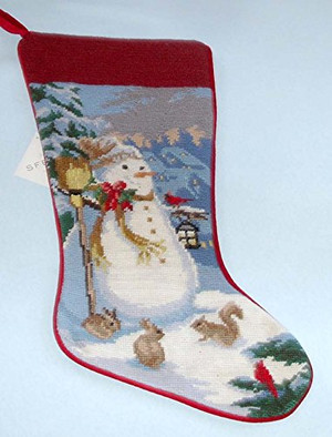 Sferra Handmade Snowman Needlepoint Christmas Stocking TH13
