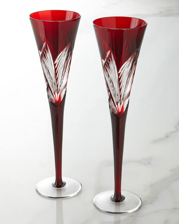 Waterford Crystal Times Square 2014 Gift of Imagination Toasting Flutes