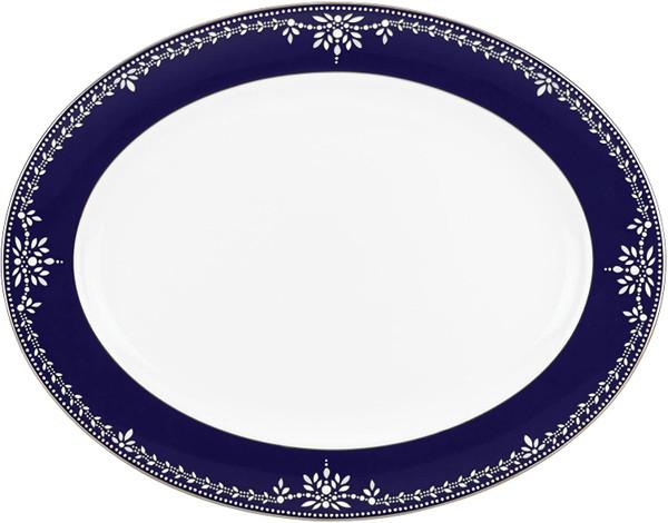 Lenox Marchesa Empire Pearl Indigo 16 Inch Oval Platter
