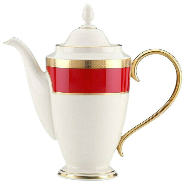 Lenox Embassy Coffee Pot Ivory Red Gold