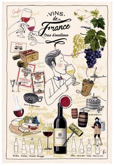 Torchons & Bouchons Tea Towel Vins de France