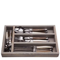 Jean Dubost 24 Pc Everyday Flatware Set with Linen colored Handles in a Tray