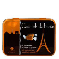 La Maison d'Armorine Chocolate Salted Butter Caramels in an Eiffel Tower Tin