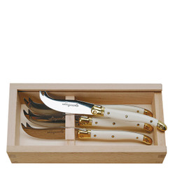 Jean Dubost 4 Cheese Knives with Ivory colored handles in a wood Box