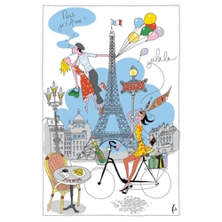 Torchons & Bouchons Tea Towel Paris Girl