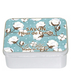 Savon Le Blanc Cotton Flower Soap in Cotton Flower Tin