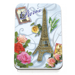 Savon Le Blanc Rose Soap in Eiffel Tower and Rose Tin