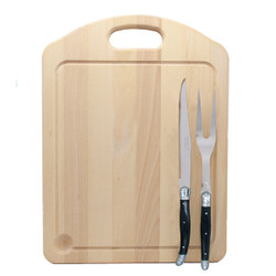 Jean Dubost Carving Set with Black Handles and Carving Board