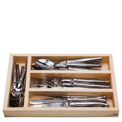 Jean Dubost 24 Pc Stainless Steel Everyday Flatware Set in a Tray