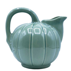 Manufacture de Digoin Verdigris Melon Shape Pitcher