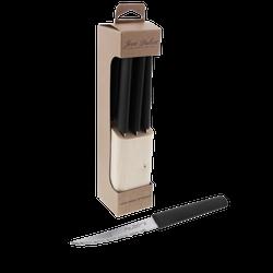 6 Eco-Friendly Steak Knives in a Block - Black Handles