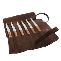 6 Olive Wood Steak Knives in Leather Pouch