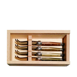 Jean Dubost 4 Mini Mineral Colored Cheese Knives in Slide Top Box