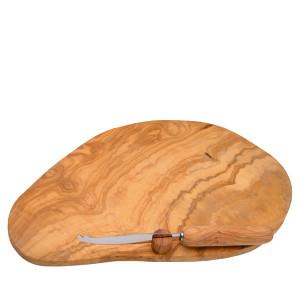 Berard Olive Wood Cheese Board & Cheese Knife