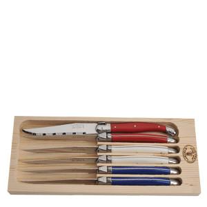 Jean Dubost 6 Steak Knives Paris Colors in Open Box